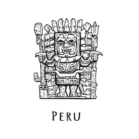 Stone statue of Peru. Vector illustration of a tourist attraction. The symbol of Peru is sketch. Illustration
