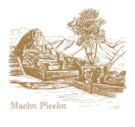 Ruin of ancient civilization Machu Picchu. Peru, sketch
