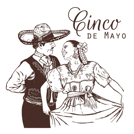 Cinco de mayo vector illustration. Mexicans in national costumes. Mexican woman and man dancing. Vettoriali