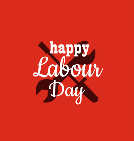 1 may - labour day logo concept with wrenches. International Workers day vector illustration for greeting card, poster design.