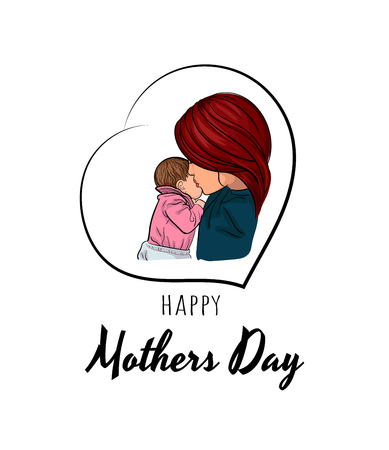 Mother's day poster vector illustration, mother and baby.