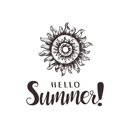 Hello Summer, hand lettering. Vector illustration sketch sun Illustration