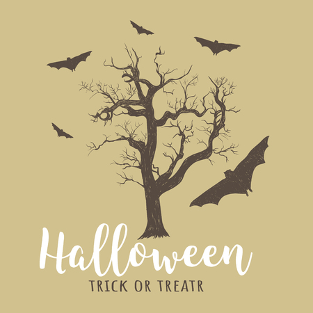 Halloween old tree and bats. Halloween vector illustration hand drawing trick or treat