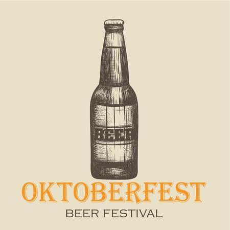 Oktoberfest, beer festival. Bottle of beer illustration.