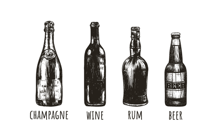 Rum, beer, champagne, wine sketch drawings of bottles. Bottles bar vector illustration