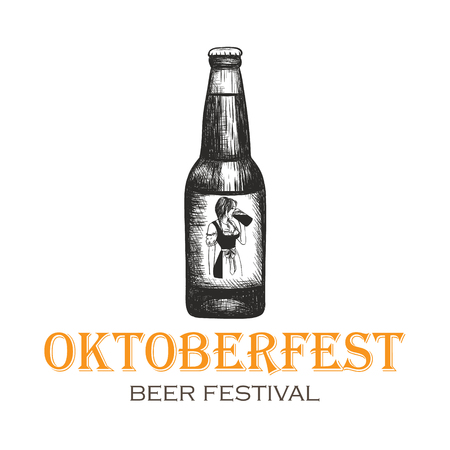 A bottle of beer with a girl label. Oktoberfest illustration