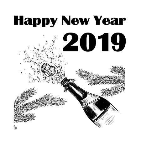 Happy New Year 2019! A bottle of champagne and a splash of champagne. illustration of a greeting card