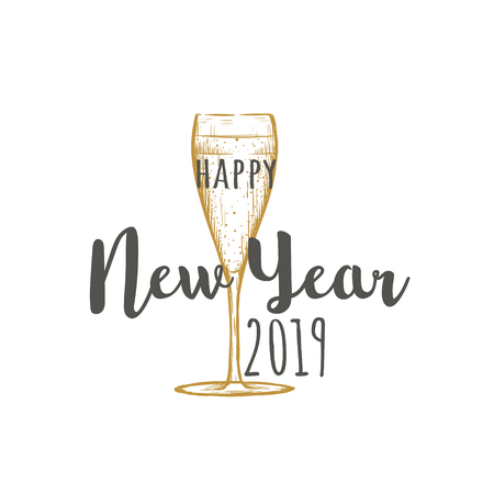 Happy New Year 2019. A glass of champagne is a golden color. Wineglass sketch greeting card