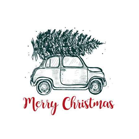 Merry Christmas greeting card. The car carries a fir on the roof. Christmas tree
