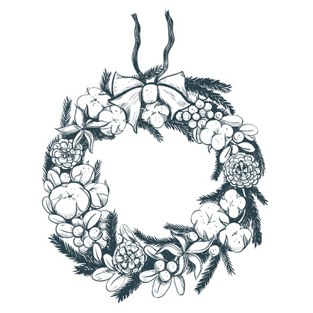 Christmas wreath with cotton and pine cones and fir branches. Christmas wreath hand drawing vector