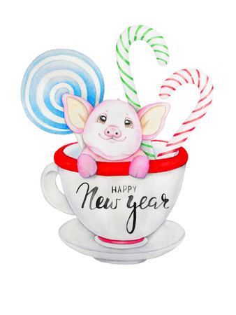 Happy new year. Piglet with Christmas candy sits in a cup. Watercolor illustration Stock Photo