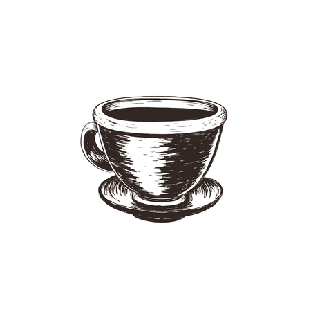 Coffee vector illustration. Cup of coffee sketch hand drawing. Calligraphy inscription with coffee pattern print glass, label, restaurant, cafe