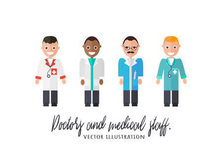 Doctors and medical staff. Male Medical Staff Vector Illustration - Flat Vector