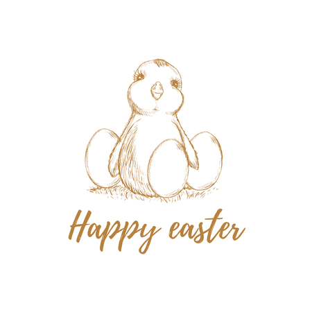 Easter. Easter chicken. Easter eggs. Vector illustration, greetings card - Vector Illustration