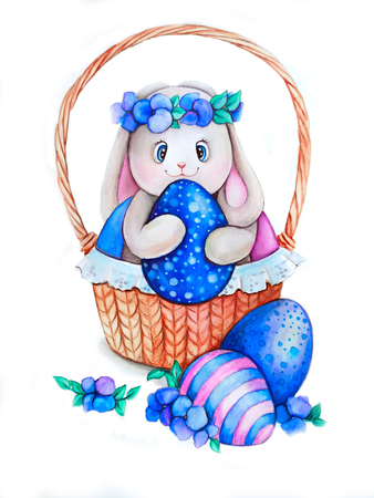 Easter bunny with colorful eggs in a basket. Easter bunny hand drawing. Watercolor illustration