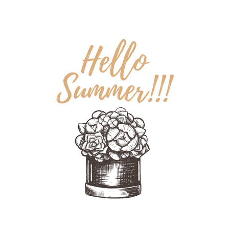 Hello summer illustration hand drawing. Hello summer, basket of flowers, sketch, bouquet, card, poster