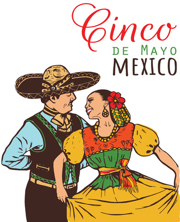 Cinco de mayo illustration. Mexicans in national costumes. Mexican woman and man dancing.