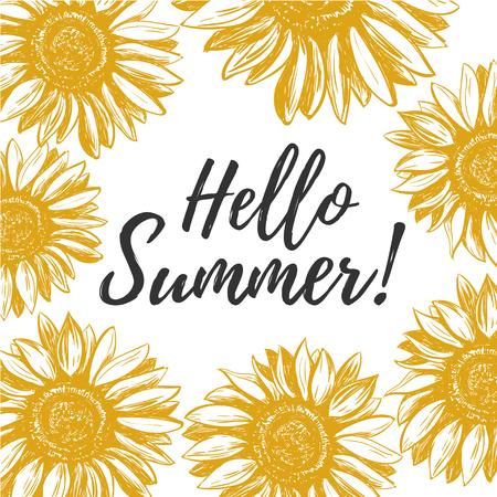 Hello summer. Hello summer greeting card with yellow sunflowers. Hello summer vector illustration.