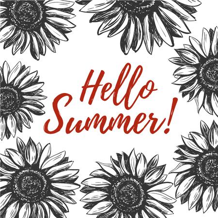 Hello summer. Hello summer greeting card with sunflowers. Hello summer illustration.