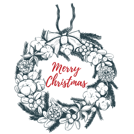 Merry Christmas wreath vector illustration. Christmas wreath hand drawing Ilustracja