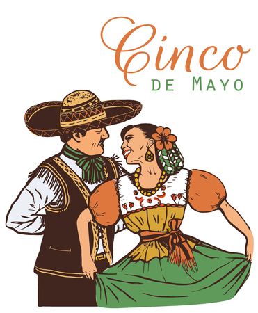 Cinco de mayo illustration.  Mexican nationality is a woman and a man. Ilustracja