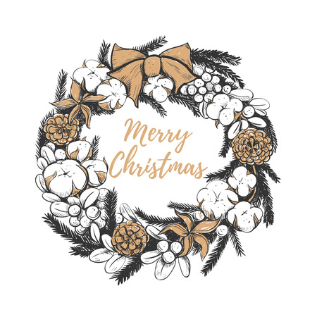 Merry Christmas wreath vector illustration. Christmas wreath hand drawing golden berries