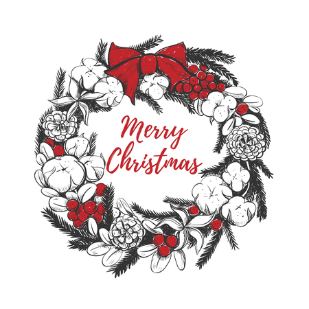 Merry Christmas wreath vector illustration. Christmas wreath hand drawing red berries