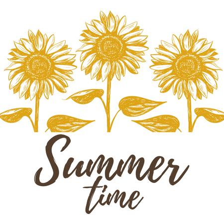 Summer time illustration with sunflowers. sunflowers art Illustration