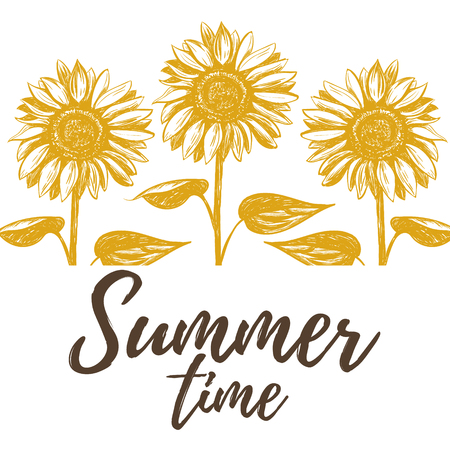 Summer time illustration with sunflowers. sunflowers art Ilustracja
