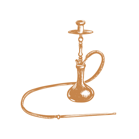 Hookah illustration. Hookah sketch hand drawing.