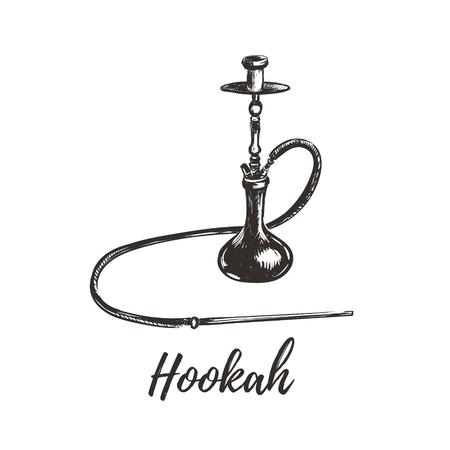 Hookah illustration. Hookah sketch hand drawing.