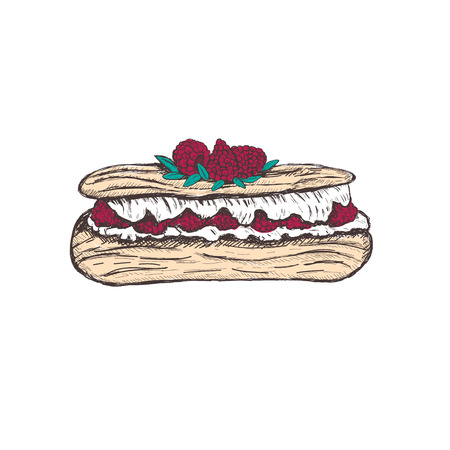Eclair with raspberry sketch vector illustration. Eclair hand drawing