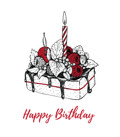 Cake with a candle birthday. Postcard congratulation cake vector illustration hand drawing. Ilustracja