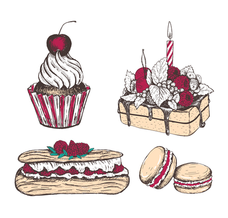 Collection of sweets vector illustration. Eclair, cupcake, macaroon, cake