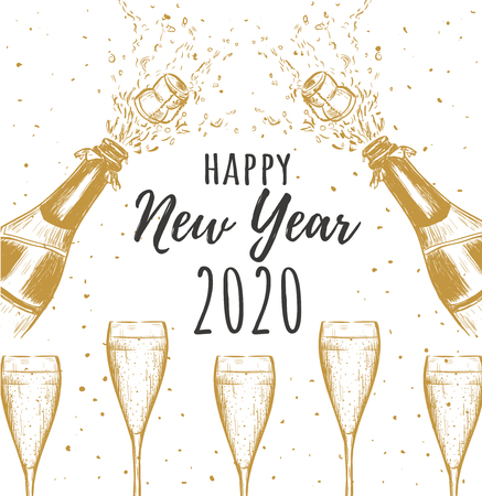 Happy New Year 2020. A bottle of champagne with a cork flying and a glass of champagne. Splashes of champagne Illustration