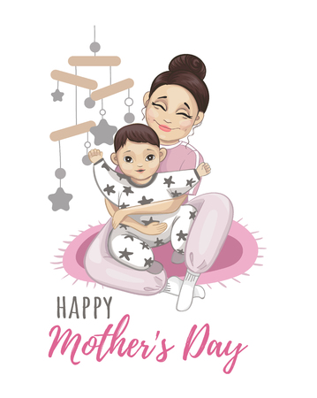 Happy Mothers Day greeting card. Mother and child vector illustration.