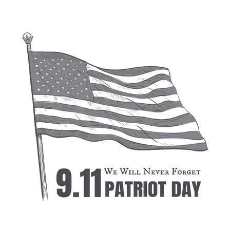 Patriot day USA Never forget 9.11 vector poster.  Patriot day in America vector illustration 11 September. We will never forget Zdjęcie Seryjne