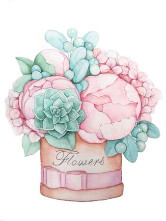 A bouquet of flowers in a round box hand drawing. Pink peonies and green berries illustration. Zdjęcie Seryjne