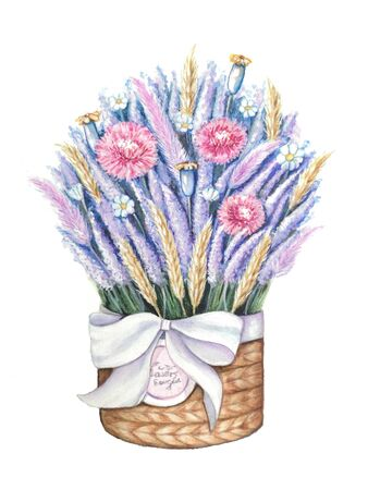 A basket of flowers. Basket tied with a bow with a bouquet of lavender, spikelets and wildflowers. Hand drawing watercolor Zdjęcie Seryjne