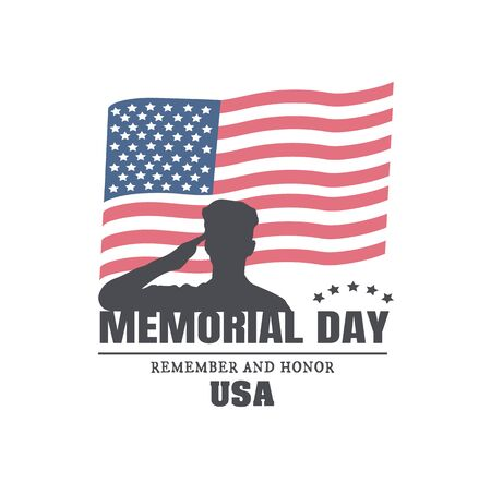 Happy Memorial Day greeting card. American military silhouette and American flag vector illustration.