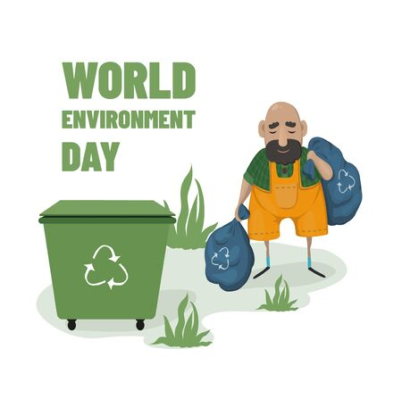 world environment day Vector illustration. Sort garbage. Man with packages of garbage Zdjęcie Seryjne