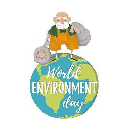 World Environment Day. A man with trash bags, Sort Garbage. Reduce Environment Pollution. World Environment Day vector cartoon illustration
