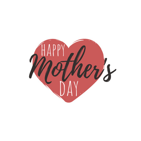 Happy Mothers Day Heart illustration vector Calligraphy Background Ilustracja