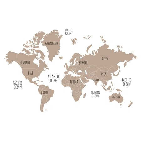 World map vector illustration. Can use for printing, textile, website, presentation element.  World map art. Ilustracja