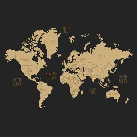 World map vector illustration. Can use for printing, textile, website, presentation element.  World map art.World map on black background