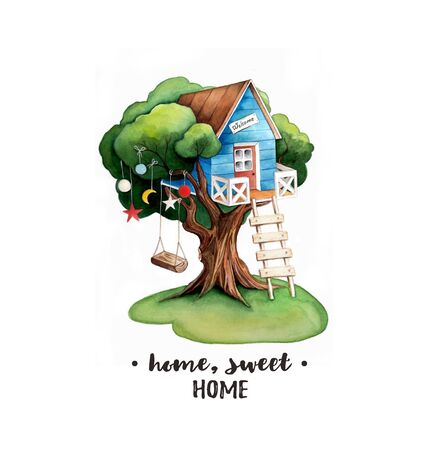 Home, sweet home watercolor illustration. Tree House Hand Drawing