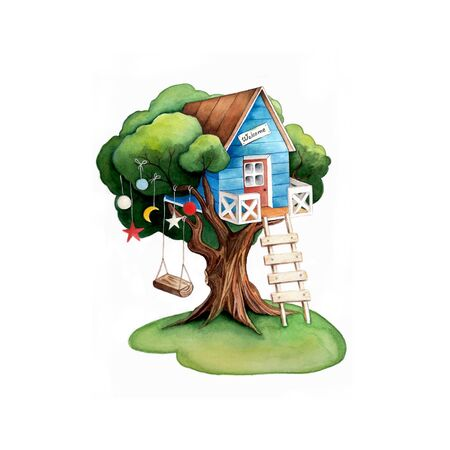 Tree house. Cartoon house and tree swing. Watercolor illustration