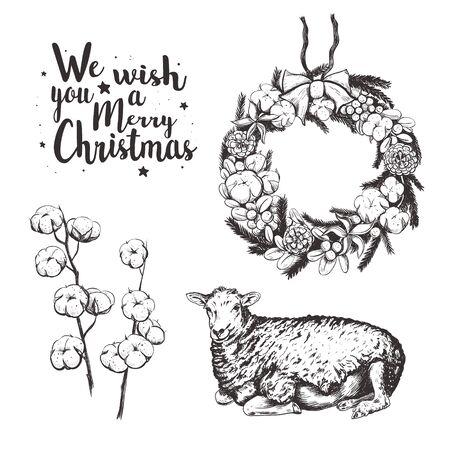 Christmas collection vector illustration. Illustration