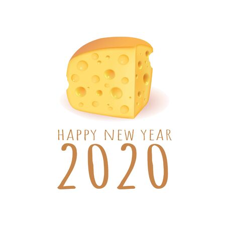 Happy new year 2020 vector cheese illustration.