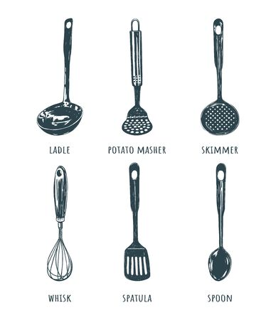 Vector set kitchen tool. Cutlery collection Hand drawing